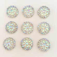 (20 pieces/lot)  Bling AB Resin Round Flatback Rhinestone Buttons 2 Hole Clothing DIY accessories D385