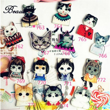 (MIN MIX ORDER $5 )Acrylic HARAJUKU Badge Cat Brooches Pin Up Collar Tips Epaulette Broche Christmas Gifts Channel Brooch XZ12