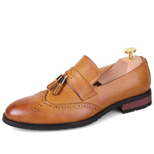 Pointed Toe Leather Shoes Men Oxfords For Men Dress Shoes Slip On Brown Black Red(China)