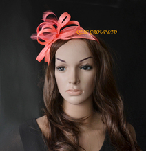 2017 NEW Coral pnk Sinamay Feather Fascinator Hat for Ascot Races,Melbourne Cup,Kentucky Derby wedding party. FREE SHIPPING