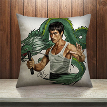 Super Bruce Lee Hot Selling Case Cushion Pillow Sofa Bedroom Home Decorative Throw Pillow Sequin Cushion Cover For Your Life(China)