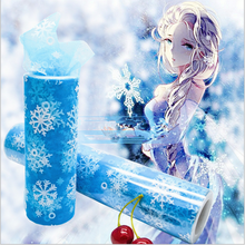 15cm*10Y Snowflake Organza Sheer Gauze Element Table Runner Tissue Tulle Roll Spool Craft Party Wedding Decoration 10Colors.q(China)