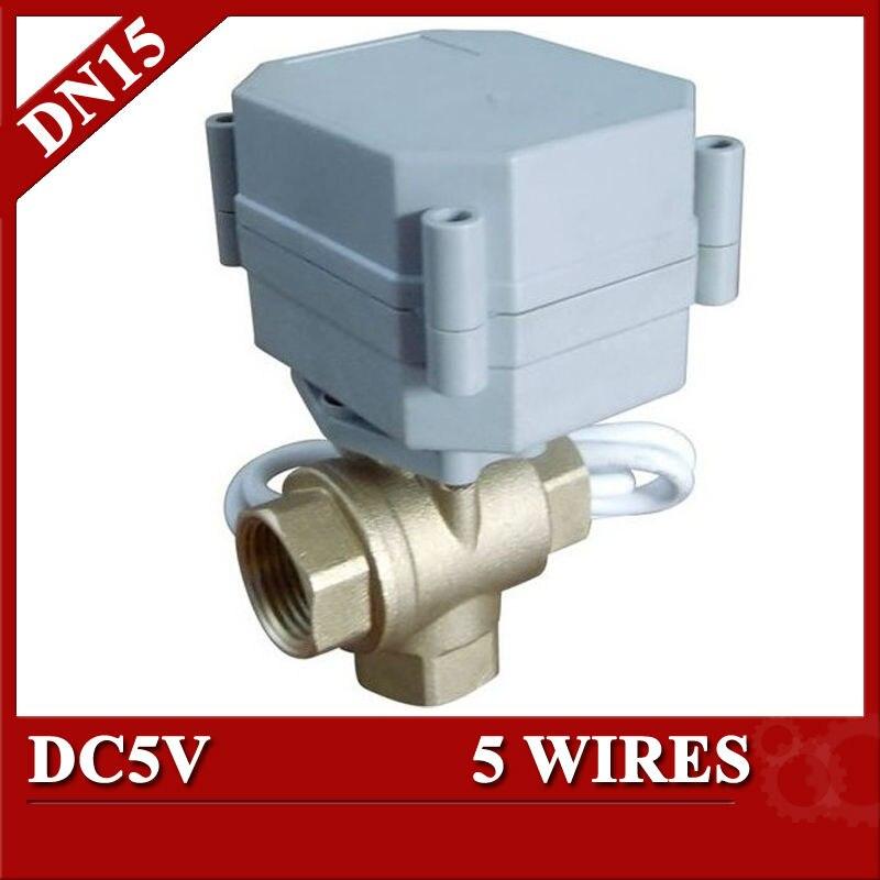 1/2 Tport Electric valve 3 way, DC5V Brass Motorized valve 5 wires(CR501), Mini Electric motor valve with signal feedback<br><br>Aliexpress