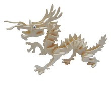 53 Pcs/Lot Children Toy DIY Wooden Simulation Chinese Dragon Model Fun Puzzle Toy Kid's Stitching Blocks 3D Wooden Dragon Model(China)