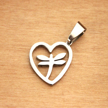 2015 New Products Stainless Steel New Design Dragonfly Pendant Jewelry Nice Dragonfly Charm Jewelry Heart Sharp With Chain(China)