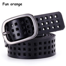 Fun Orange Casual Vintage Genuine Leather Belt for Women Hollow Breathable Soft Belt with Pin Buckle(China)