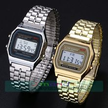 100pcs/lot Promotion WR Clock Ultra-thin Digital Watch Alloy Band Unisex No Crystal Watch Digital Gold Alloy Digital Watch