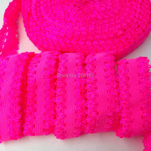 "Quality Neon Pink Picot Trim, 3/4"" Frilly Edges Elastic Ribbon Stretchy Lace Trim for DIY Headwear Hair Accessories 10Y/lot"