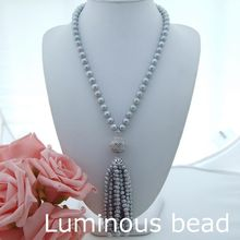 AB072902 22'' 9-10MM Grey Pearl Necklace CZ Pendant