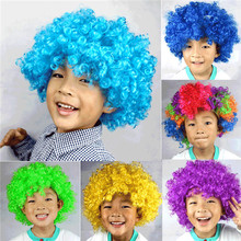 Christmas Party Curly Hair Wig Disco Rainbow Afro Clown wig Football Fan Adult Child Costume Party Costume Free Shipping FC08