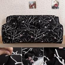 Black Branches Printed 1 2 3 4 Seater L Shape Stretch Chair Loveseat Sofa Couch Protect Cover Slipcover Sofa Case Home Furniture