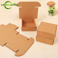 Leotrusting 50pcs Small Blank Brown Paper Box Natural Cardboard Paper X-mas Gift Packaging Box Beige Handmade Wedding Paper Box(China)