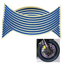 "Car Motorcycle rim Stripe 2 Sheets 16 strips Blue 18 "" Motorcycle Styling Wheel Hub Rim Stripe Reflective Decal Stickers(China)"
