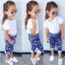 Children Girls summer Clothing Sets 2015 New Kids Apparels Girl Summer 2-Pieces Clothes Twinset top t shirt Blouse Floral Pants