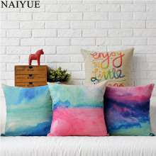 Pillow NAI YUE New Comfortable Fashion Cotton Linen Colorful Watercolor Cloud Pillow Case 4 Style Best Gifts For Home Decoration