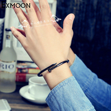 Women Screw Nail Cuff Bracelets&Bangles Female Titanium Stainless Steel Silver Color Black Love Bangle Bracelet Jewelry Pulseras