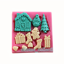 Xmas House Tree Shaped Silicone Soap Mold 3D Fondant Mold Cake Decoration Tools Sugar Cake Mold