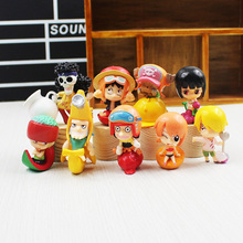 9pcs/lot New Fruit Style One Piece Luffy Nami Chopper Boa Usopp Brook Sanji PVC Action Figure Toy Collective Doll Free Shipping(China)