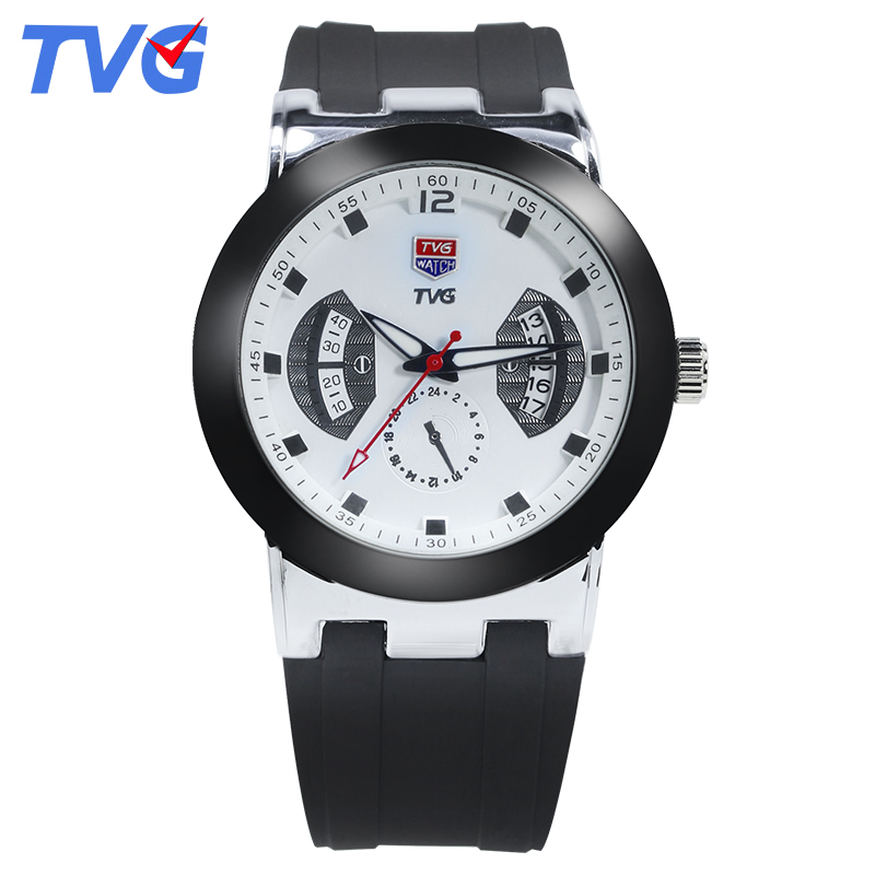 New Brand TVG fashion Ultra-Thin mens Quartz Watch Waterproof Black Silicone Strap Casual men Wristwatches reloj skmei<br><br>Aliexpress