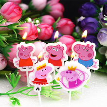 Pepa Pig Kid's Birthday Cake Candles Cute Cartoon Cupcake Toppers Creative Party Supplies Pink Pig Candle