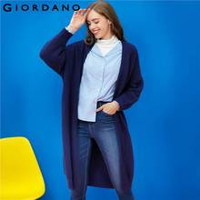 Giordano Women Cardigan Mid Long Puff Sleeves Knit Overcoat Solid Pattern Pockets Cardigan Fashion Lady Clothing Brand(China)