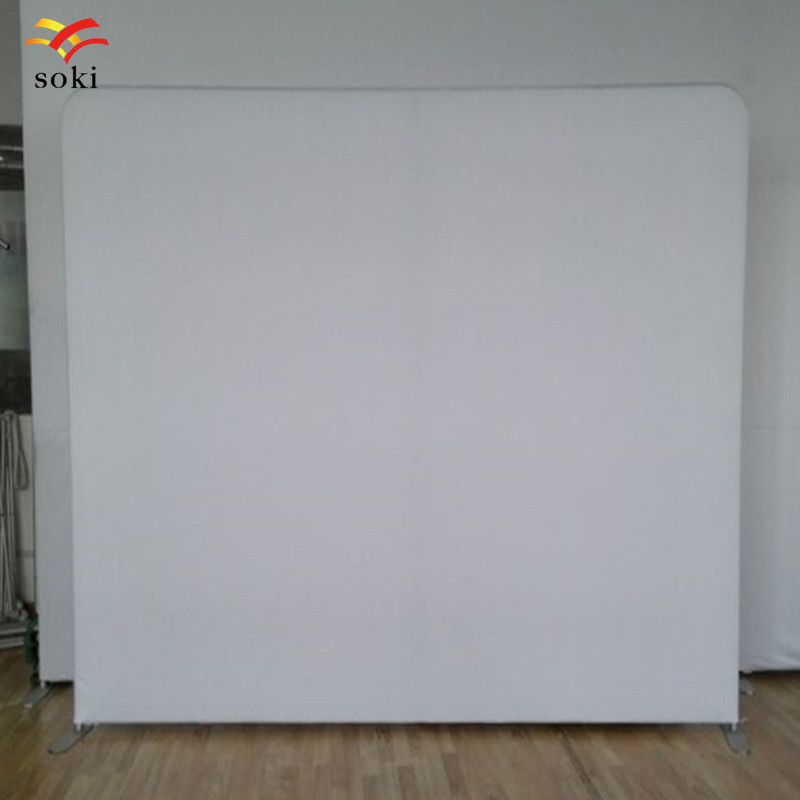 8ft Exhibition Booth Portable Tension Fabric Display Stand With White Fabric Banner Backdrop Trade Show Backwall(China)