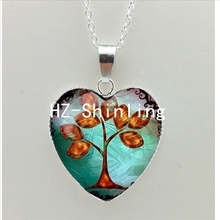 New Tree of Life Heart Necklace Life Tree Heart Pendant Tree Jewelry Murano Glass Heart Necklace HZ3