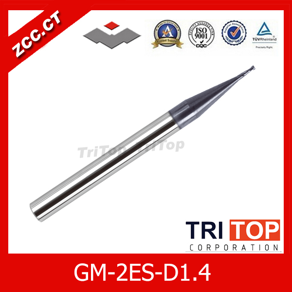 free shipping  ZCC.CT GM-2ES-D1.4 Cemented Carbide 2-flute flattened Tiny diameter end mills with straight shank<br><br>Aliexpress