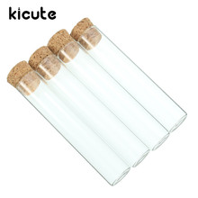 Kicute 5pcs Excellent Transparent Lab Glass Test Tube With Cork Stoppers Flat 20*100mm Laboratory School Educational Supplies