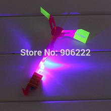 (100 pieces/lot) High quality DOUBLE FLASH amazing led flying toy arrow helicopter led light parachute toys