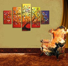 New Handmade Group of Oil Paintings Abstract 5pcs Flowers Rich Tree Painting Modern Wall Pictures For Living Room