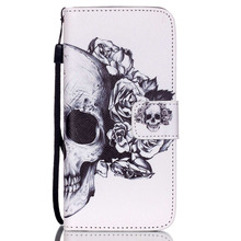White Flower Skull Flip Leather Wallet Cover Case For iPhone 4S 5S 5C 6 plus / S3 S4 S5 mini S6 edge /G530 G360 /Huaweis P8 Lite