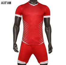 AXFAM New 2017 Football Sets Breathable Short sleeve Slim Men's Soccer Jerseys shorts Perfect quality football uniform YM-C100