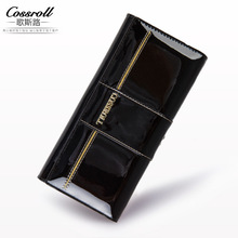Genuine Leather Wallet Cowhide Women's Wallets Clutch Long Design Purse Bags Handbag Women Purse Patent Leather Bag(China)