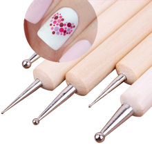 5Pcs 2 Way Wooden Dotting Pen Marbleizing Tool Nail Art Dot Dotting Tools #14198