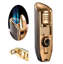 JOBON brand metal 3 jet turbine butane gas torch lighters, portable cigarette cigar knife, outdoor windproof inflatable