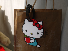 Kawaii Hello Kitty 11CM Silicone Rubber Travel Luggage Pad Tag Holder ; Cards Label Name Cards TAG Case Pouch(China)