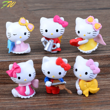 (6pcs/lot) KT cat miniature figurines toys cute lovely Model Kids Toys 3cm PVC japanese anime children action figure world160347(China)