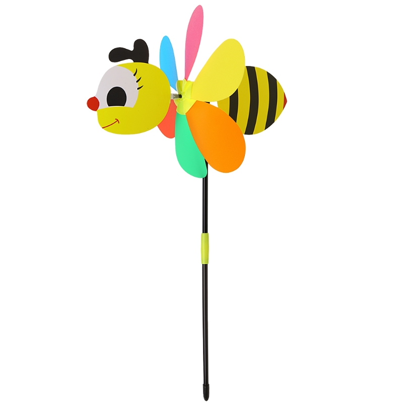 Home & Garden Colorful Three-dimensional Double Bee Cloth Childrens Windmill Toy Outdoor Party Decoration Wind Spinner For Home Decor