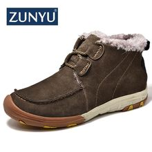 ZUNYU 2018 New Super Warm Men's Winter Genuine Leather Ankle Boots Men Autumn Snow Boots Leisure Autumn Mens Casual Boots Shoes
