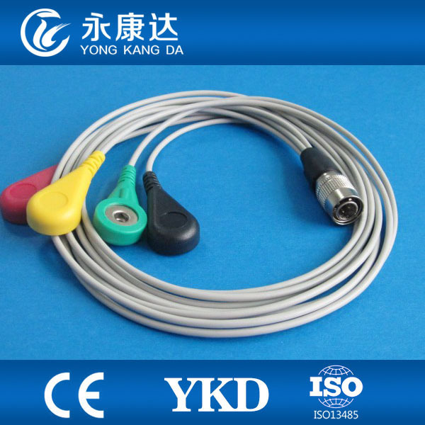 PI Holter 4-lead ECG leadwire set,IEC,DIN3.85&gt;&gt;snap<br>