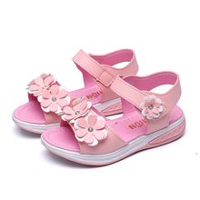Buy New Summer Girls Sandals Kids Shoes Pink White Princess Flower Children Flat Fashion Light Soft Leather Beach Sandals Non-slip for $9.79 in AliExpress store