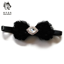 New Free Shipping fashion casual Men's male Black bow tie feather natural marriage wedding dress Korean groom Headdress on sale(China)