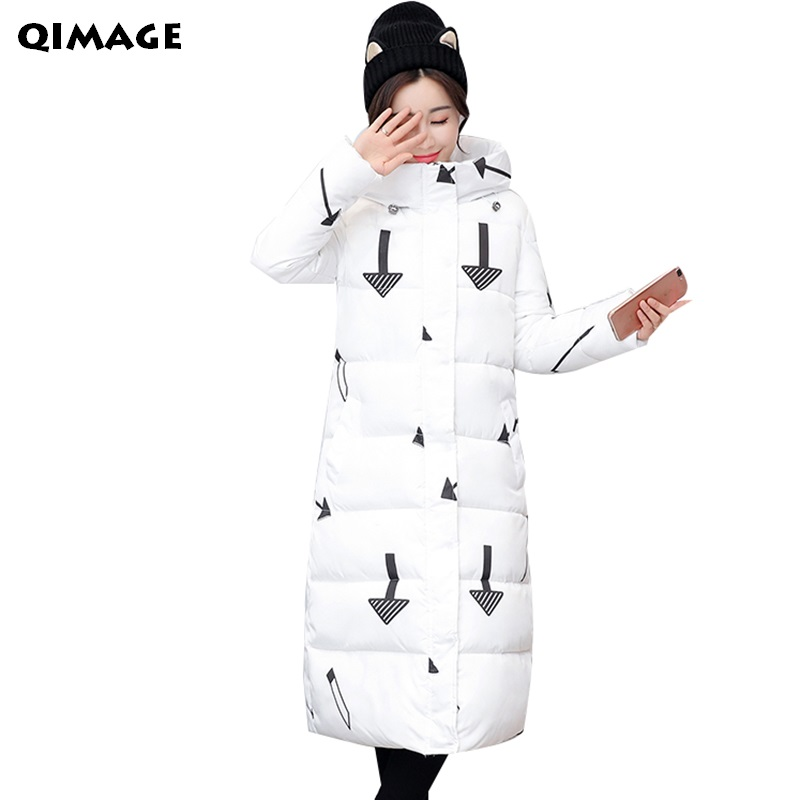 QIMAGE 2017 Winter Print Women Coats Slim Long Winter Parkas Thick Warm Padded Coat Female Plus Size Outwear Women Jacket CoatsÎäåæäà è àêñåññóàðû<br><br>