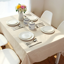 New Table Cloth  custom high-end Japanese style simple linen tablecloths khaki cloth Linen Table Cloth  Plaid tablecloth