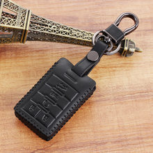 Black Genuine  Leather Car Remote Smart Key Case Cover Fit For Cadillac SRX CTS XTS ATS Chevy C7 Corvette,5 Buttons