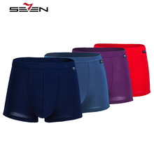 Seven7 Brand Mens Boxer Shorts Male Panties Soft Cotton Trunks Cueca Sexy Gay Underwear Boxers Underpants Men 4pcs/lot 109G40160(China)