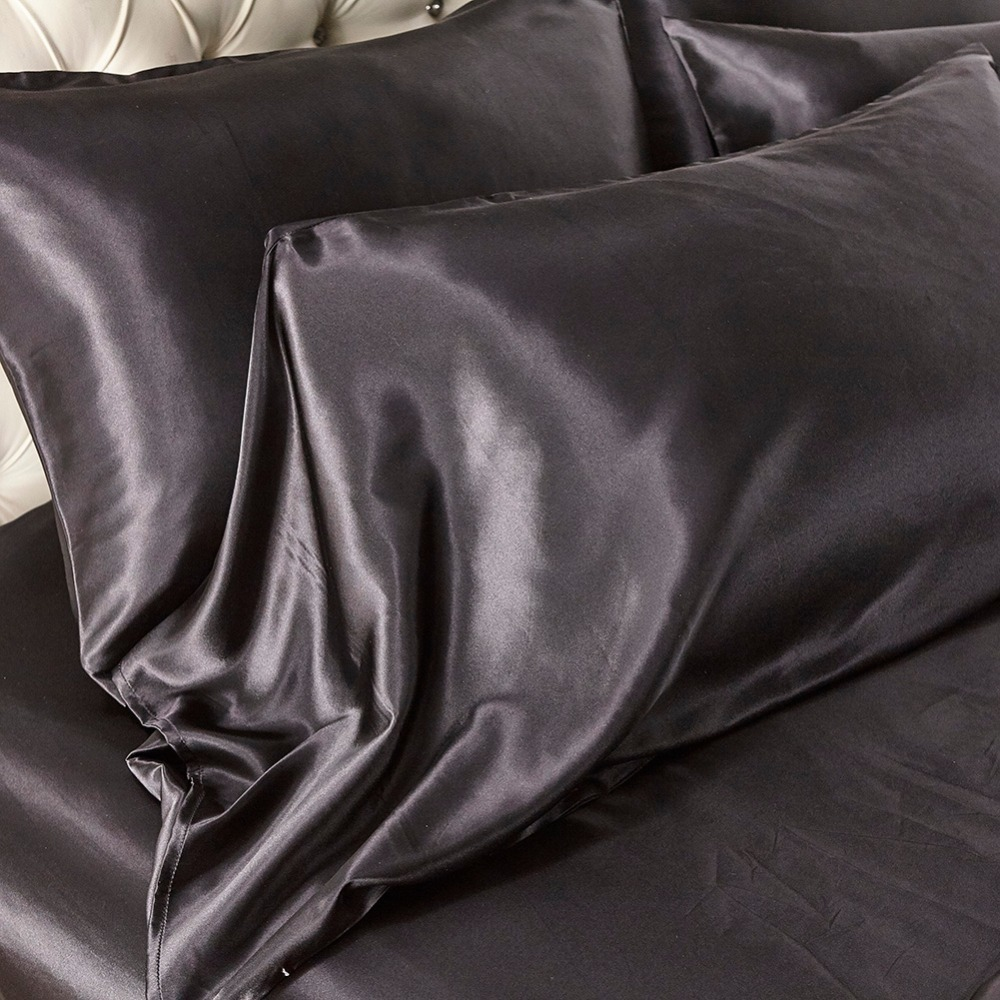 Solid-Color-Satin-Faux-Silk-Bedding-Set-Black-Duvet-Coveer-Set-Silky-Bed-Cover-US-Twin