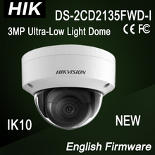 DS-2CD2135FWD-I NEW Hik 3MP dome IP Camera Ultra-Low Light IK10 3-axis adjustment H.265,H.265+,H.264+,H.264 IR 30m Support 128GB
