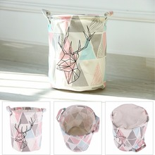 High Quality Retro Triangle&Deer Pattern Linen Desk Toy Storage Box Holder Laundry Basket With Handle #226347(China)